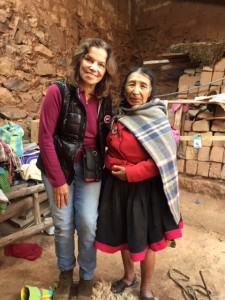 Doña Maria Apaza, a Q'ero elder and the last of the female Altomesayoq with Eleanora in Cusco, Peru