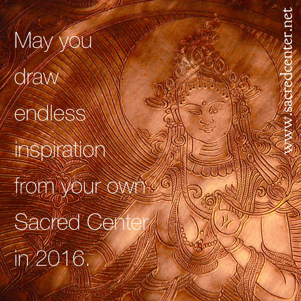 May you draw endless inspiration from your own Sacred Center in 2016 | Tibetan singing bowl with goddess